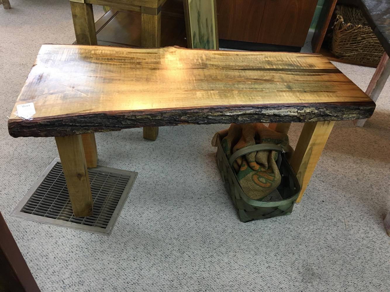 We Previously Had A Live Edge Walnut Pub Table, But On Our Floor Now Is  Antique Rough Sawn Heart Pine Farm Tables With 2 Benches, And An Ambrosia  Maple Farm ...